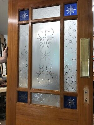 Victorian Stained Glass Door Reclaimed Period Old Antique Vestibule Porch Etched