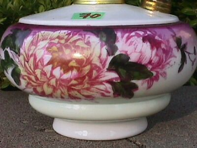 Antique Hand Painted FLOWERS Oil Lamp FONT Brass Collar+Fill Port HANGING Lamp