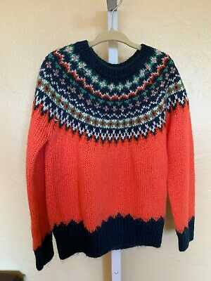 Nwot Gap Kids Girls Fair Isle Acrylic/Wool/Mohair Pullover Sweater Size 6-7 Yrs