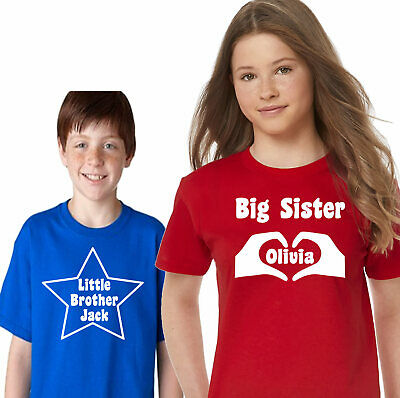 personalised kids t shirt Big Little Sister Brother Girls Boys Matching Tops