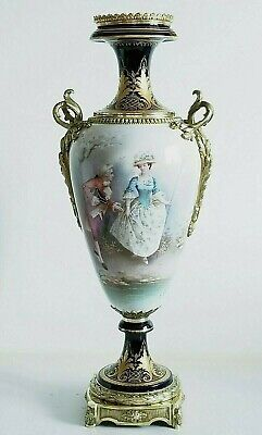 Large 19C French Sevres Porcelain Gilt Bronze Vase Signed