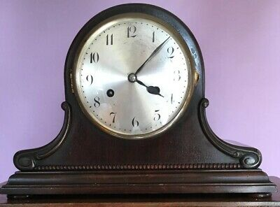Junghans Germany Antique Wood Brass Chiming Mantel Clock Working