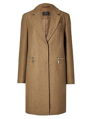 Ex Marks and Spencer Wool Blend City Coat Single Breasted Coat Size 6 - 24