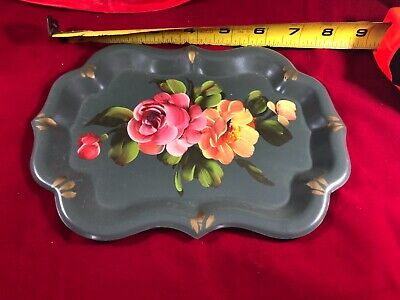 """Vintage Toleware Metal Tray Hand Painted Tole Black Floral Rose Shabby Chic 8"""""""