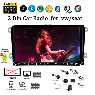 9''2 Din GPS Android Car Radio for VW/Seat +CAM Touch Wifi iOS Mirror Link BT FM