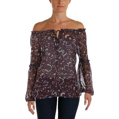 Aqua Womens Off-The-Shoulder Sheer Floral Dress Top Blouse BHFO 7866