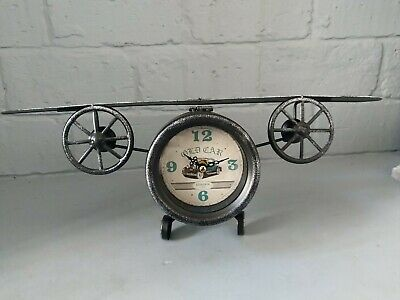 Vintage Aeroplane Plane Clock Desk Mantle Ornament Antique Table Model