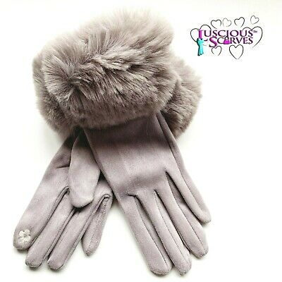 Grey Gloves Ladies Faux Fur Cuff ,Ladies Soft Warm Faux Suede Touch Screen