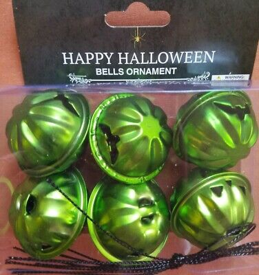 NIP Halloween Pumpkin Bell Mini Metal Tree Ornaments Set of 6 Green