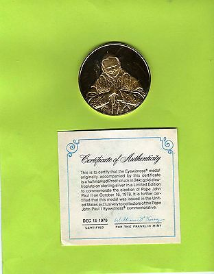 Medal Pope John Paul II - Sterling Silver Gold Plated (18 G) (23674-o1)