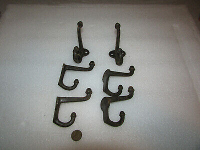 "Lot (6) VTG Early Antique Cast Iron Black Coat Hat Rack Hooks Halltree 3"" x 3"""