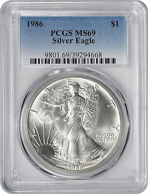 1986 American Silver Eagle Dollar MS69 PCGS Mint State 69