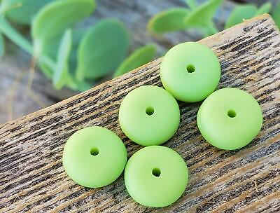 Vintage Matte Glass Rondelle Beads ~ Light Green Old Unique Jewelry Making