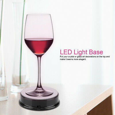 2LED Round Colored Light Stand Base for Crystals Glass Art Paperweights Decor