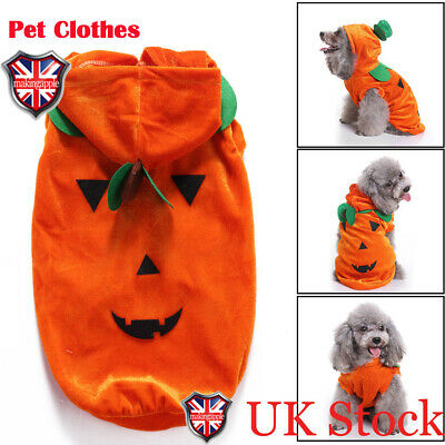 Pet Dog Halloween Clothes Draping Pumpkin Fashion Party Costume Jacket Outfit UK