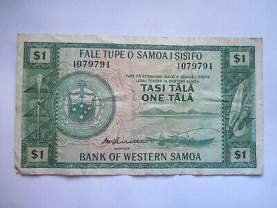 BANK of WESTERN SAMOA 1 TALA BANKNOTE VERY NICE COLLECTABLE CONDITION c1970s
