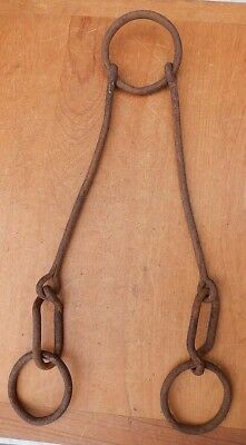 "Antique 19th C Hand Wrought Iron Set of Hanging Loop Rings RePurpose 41"" Long"