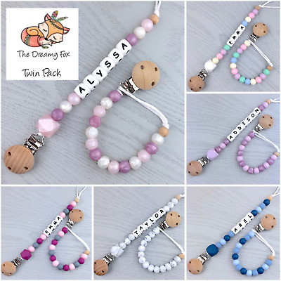 2 Pack Personalised dummy clip pacifier chain dummie binky baby beaded gift