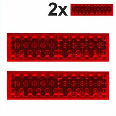 2x Rear Self-Adhesive Red Oblong Rectangular Trailer Caravan Moto Reflectors