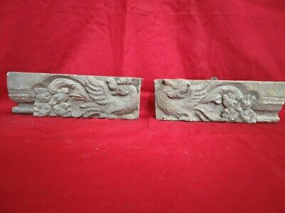 Antique Wall Panel Dragon Yalli Wooden panel Plaque Corbel Estate Home decor Old
