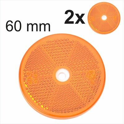 2x 60mm E-Approved Amber Orange Round Circular screw Trailer Caravan Reflectors