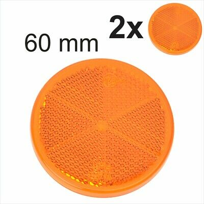 2x 60mm Self-Adhesive Amber Orange Round Circular Trailer Caravan Reflectors