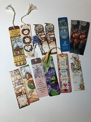 Vintage Bookmarks Lot Of 13 Cats Horses Religious Tassels Christmas Friends