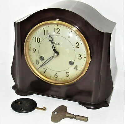Nice 1930's Smiths Striking Mantle Clock In Bakelite Case For Restoration