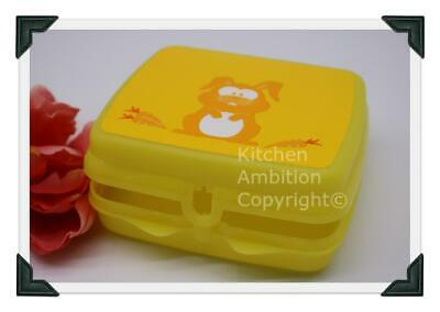"Brand New TUPPERWARE® 6"" Sandwich Keeper Kids Lunch Container Yellow Rabbit #F4"