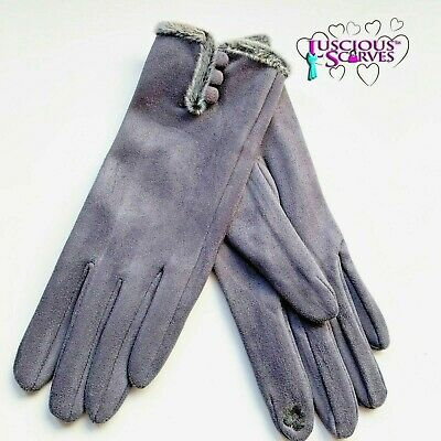 Grey Gloves Ladies Faux Suede Very Soft Grey Faux Fur Trim Touch Screen