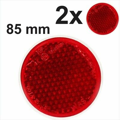 2x 85mm STICK ON Self-Adhesive Rear Red Round Circular Truck Trailer Reflectors