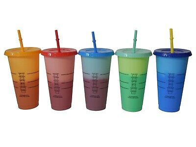 Starbucks-inspired 5 Pack of Color Changing 24oz Cups with Lids and Straws