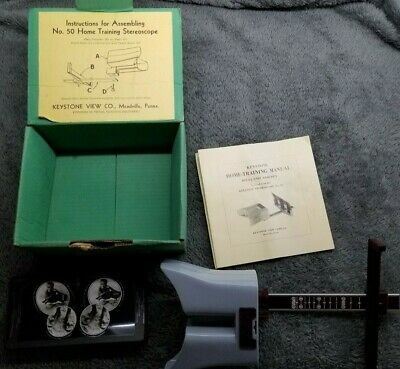 Keystone Eye comfort Training #50 Stereoscope with Original Box Book & 12 Cards