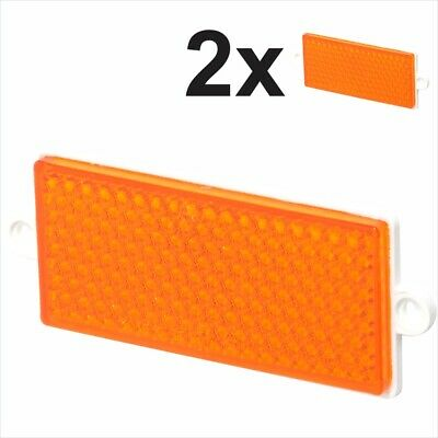 2x Trailer Reflectors Amber Orange Yellow Screw Mount Backing Plate E-Approved