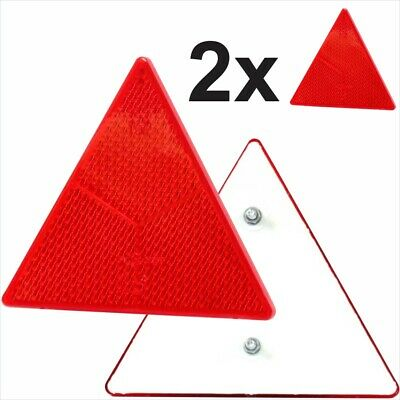 2x Triangular Red Reflectors Bolt on Rear Triangle trailer caravan motorcycle