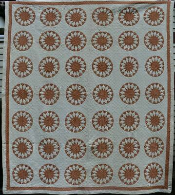 """Early Antique """"Sunburst"""" Quilt in Copper and Gold, Double Borders, #18629"""