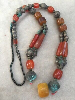 antique Turkman Turkeman carnelian agate long beads silver  broken necklace