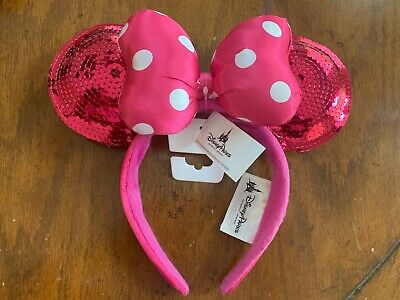 Disney Park Minnie Mouse Polka Dot Bow Pink Sequin Ears Headband New From WDW