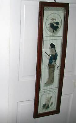 Antique Chinese Reverse Painted Mirror Eglomise 36.75 x 10.25 Excellent