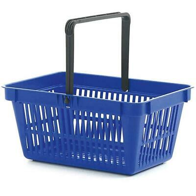 Pack of 5 Plastic Shopping Baskets 22 Litre Single Handle Plastic Basket - Blue