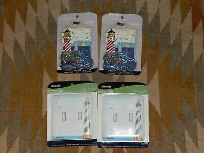 Lot of 4 Lighthouse Switch Wall Plate Covers Single Double Resin & Metal