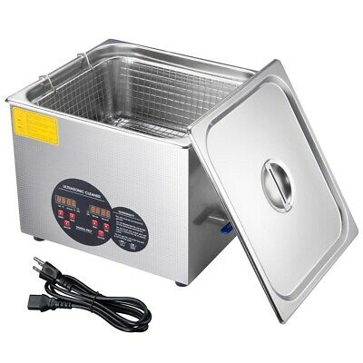 15L Stainless Steel Industry Heated Ultrasonic Digital Cleaner w/Timer Dental