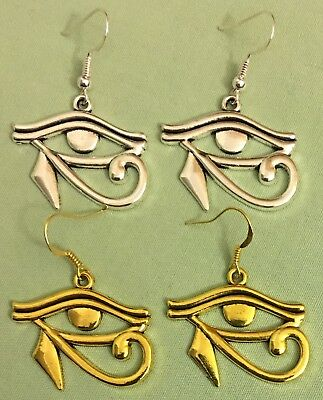 EGYPTIAN EYE OF RA EARRINGS - Pewter with SS or GP Ear Wires, Choose - HORUS
