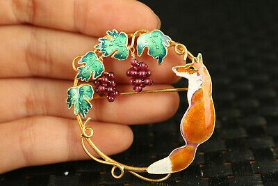 Fine Chinese old cloisonne silver hand painting grape  Brooches Jewellery gift