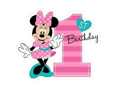 Brilliant Baby Minnie Mouse 1St Birthday Personalised Message Cake Topper Funny Birthday Cards Online Necthendildamsfinfo