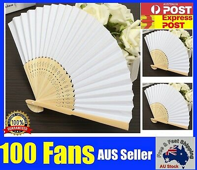 Bulk Chinese Hand Folding Silk Bamboo Wooden Paper Fan White Red Pink Flower