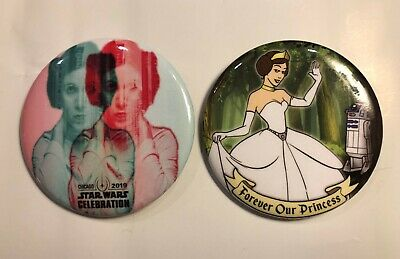 Star Wars Celebration Chicago 2019 Disney Princess Leia Swag Button/Pin Set