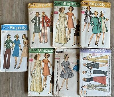 Vintage Simplicity Sewing Patterns Lot Of 7 1960s 1970s Size 8-12