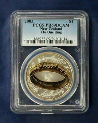 "2003 New Zealand Silver Proof $1 coin ""The One Ring"" Graded PR69    (AF9/15)"