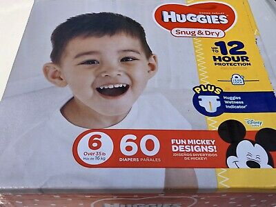 Huggies Snug and Dry Diapers SIZE 6 (over 35 lbs / 16 kg) 60 count